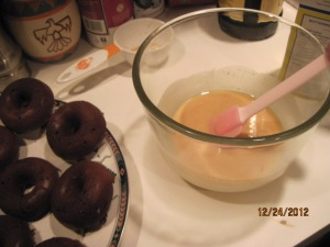 Making the glaze. I had to add more sugar than I had intended...couldn't get it quite thick enough at first.